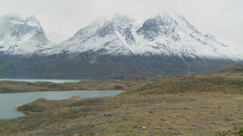 Pan across lakes and peaks in Patagonia, Argentina Stock Video Footage