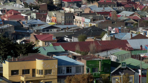 Rooftops in the Chilean town of Punta Arenas Stock Video Footage