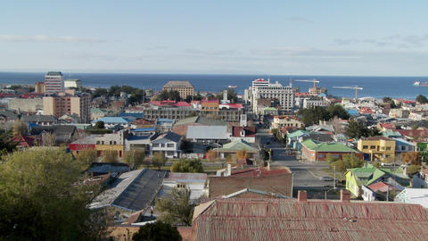 A panning shot over downtown Punta Arenas in the Southern... Stock Video Footage