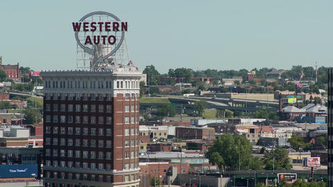 The Western Auto building is a popular Kansas City landmark Stock Video Footage