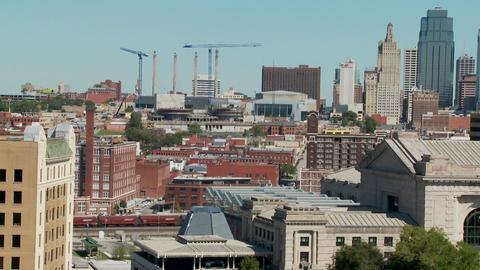 A daytime view of the Kansas City, Missouri skyline... Stock Video Footage