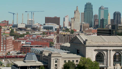 A daytime view of the Kansas City, Missouri skyline including Union Station in foreground Footage