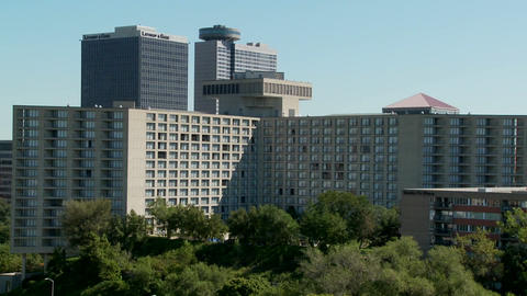 A generic office and conference center with high rises behind Footage
