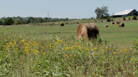 Pan across to bales of hay in the fields of rural farm Stock Video Footage