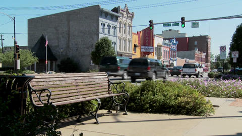 A park bench and Main Street in the all American town of... Stock Video Footage