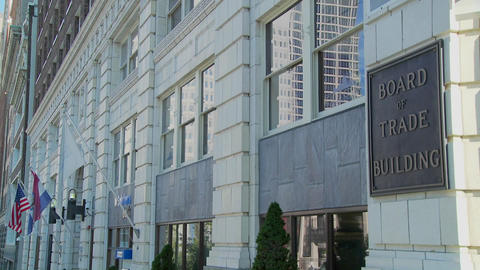 A shot of the Kansas City Board of Trade building Footage