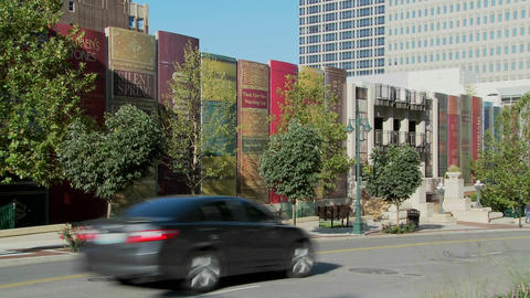 The facade of a Kansas City parking structure at the library is disguised as books Live Action