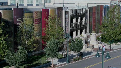 The facade of a Kansas City parking structure at the library is disguised as books Footage