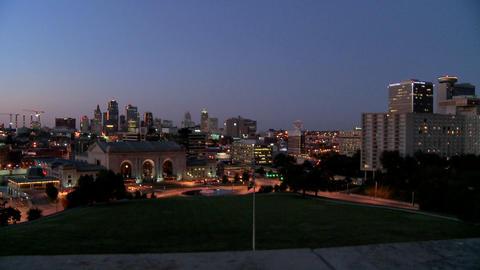 A night time view of the Kansas City, Missouri skyline Stock Video Footage
