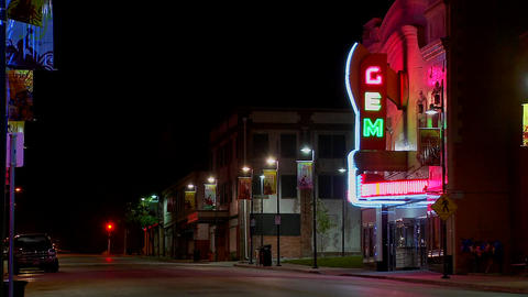 A night shot of an empty street in small town America Stock Video Footage
