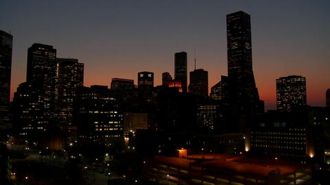 The Houston skyline just after sunset Stock Video Footage