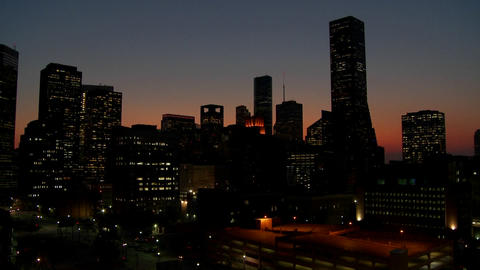 The Houston skyline just after sunset Footage