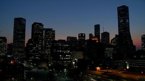 The Houston skyline at dusk Footage