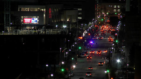 Time lapse of traffic on Houston streets at night Footage