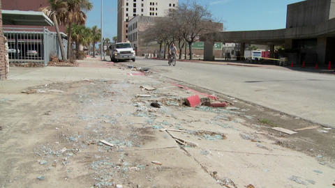 Tilt up of junk and refuse sits on the street during the cleanup after Hurricane Ike in Galveston, T Footage