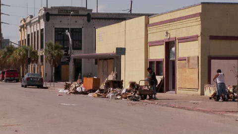 Cleanup crews work in Galveston Texas after Hurricane Ike Footage