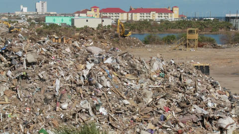Junk is piled up in the wake of the devastation of Hurricane Ike in Galveston, Texas Footage