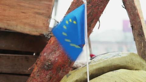 European Union flag on protesters' barricade in Kiev Ukraine Footage