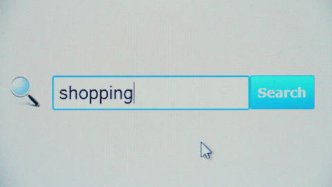 Shopping - browser search query, Internet web page Footage