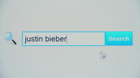 Justin bieber - browser search query, Internet web page Footage