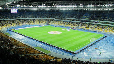 Stadium arena before football match time lapse, training players Footage