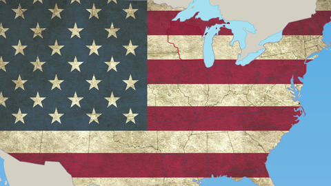 Wisconsin pull out, smooth USA map, all states available Footage
