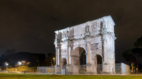 Arch of Constantine. Night. Rome. Italy. Time Lapse Footage