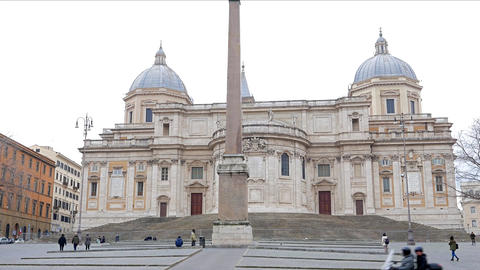 Basilica of St Mary Major. Piazza dell' Esquilino. Rome, Italy Footage
