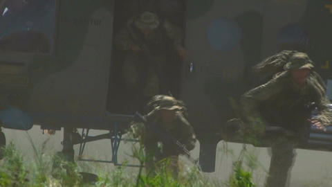 Russian soldiers jumping out of helicopter Footage