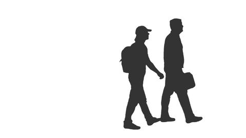 Silhouette of two walking men, Full HD footage with alpha channel Footage