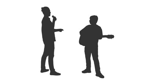 Silhouette of two teenagers playing guitar & singing, alpha channel Footage