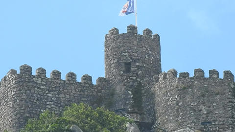 Medieval European Castle Walls And Tower Footage