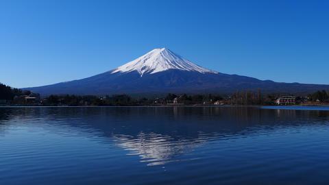 """Mt. Fuji of Clear blue sky from """"Ubuyagasaki"""" Lake Kawaguchi japan 4k Live Action"""