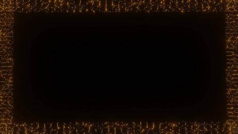 Animated frame composed of flashing small dots, orange glowing dots on black Animation