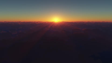 4K. Beautiful Sunrise Above The Clouds GIF