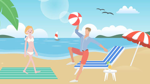 Cartoon Man Accidently Hits Woman with Beach Ball: Looping Animation