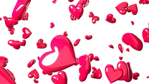 Falling pink heart objects in white background. Cute heart-shape abstract Animation