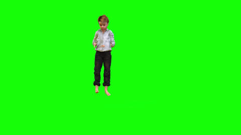 546 4k 3d animated avatar small boy without shoes play jumps Animation