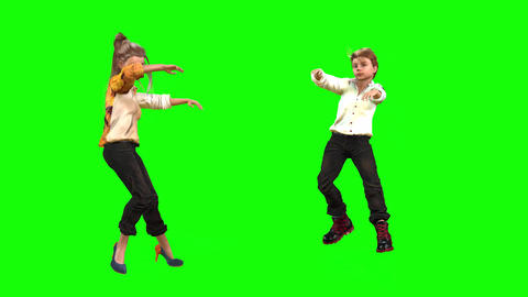 548 4k 3d animated two avatars a boy and a girl dance Animation