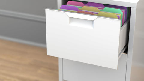 File with law practice documents in the office file cabinet. 3D animation Live Action