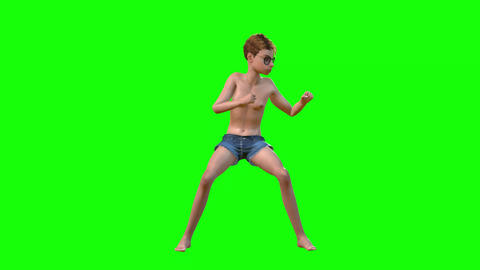 553 4k 3 d animated avatar teenager boxing excersise and look on his body Animation