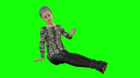 554 4k 3d animated avatar young woman in different cloths sits and talk Animation