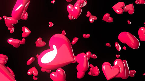 Falling pink heart objects in black background. Cute heart-shape abstract Animation