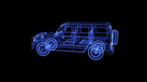Hologram of a rotating modern Bulletproof Suv Live Action