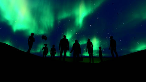 Family silhouette northern lights. Beautiful universe. Northern landscape. Youth Live Action