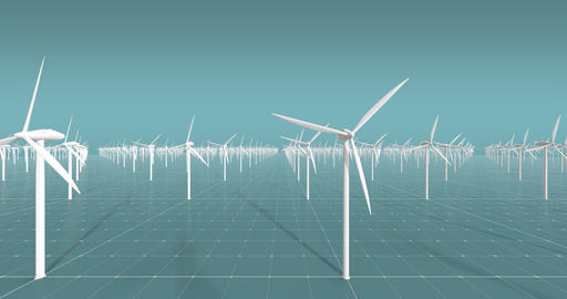 3D wind turbines CG wind farm Live Action