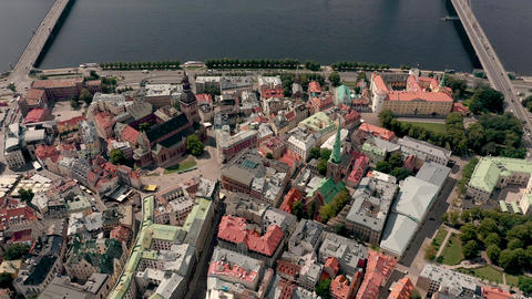 RIGA, LATVIA - MAY, 2019: Aerial view of the old cathedral in the historic Live Action