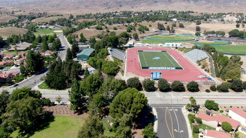 Aerial view of Moorpark College sport fields. Public community college in Live Action