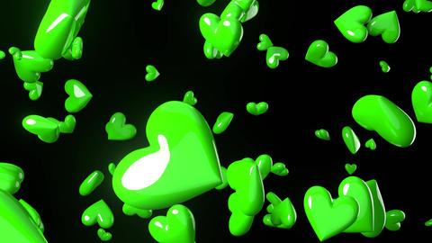 Falling green heart objects in black background. Cute heart-shape abstract animation Animation