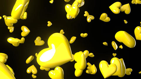 Falling yellow heart objects in black background. Cute heart-shape abstract animation Animation